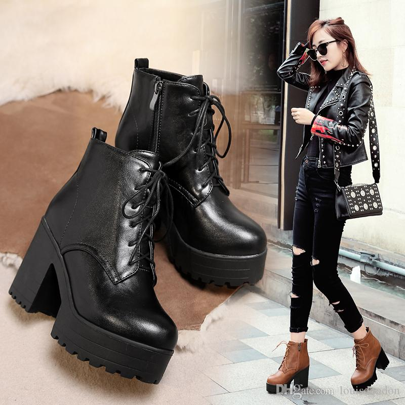 3b85ca8d49a Fashion Women Ankle Boots Super High Platform Heels Winter Laced Up Black  Western Riding Gothic Style Booties For Young Ladies Boots Uk Winter Boots  From ...