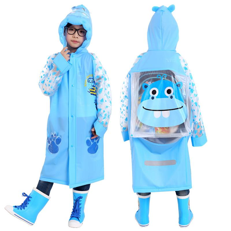 24f0da02c Waterproof kids raincoat with school bag Children s rain coat Inflated cap  brim cute cartoon Long rain jacket free shipping