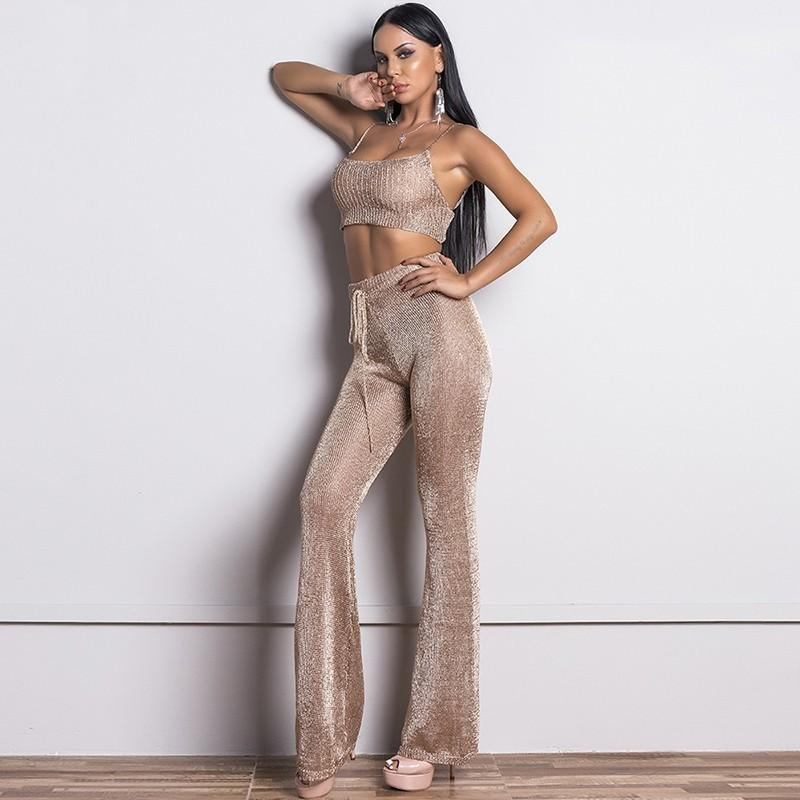 2019 Glitter Rose Gold Bodycon Cropped Fashion Set Women Suit Two Piece Set  Top And Pants Suspender Backless Elegant Suits From Douban 0c781ca3b1ae