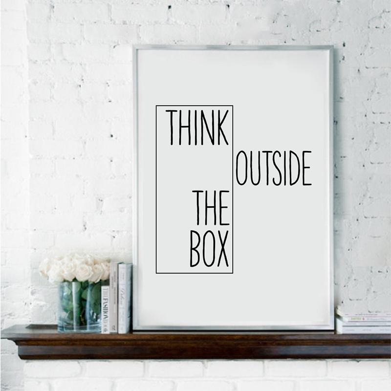 2019 Motivational Print Creative Decor Think Outside The Box Home