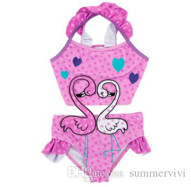 1b26b1f9f0 Kids Falbala Polka Dots One-pieces Swimmings Girls Love Heart Swan ...
