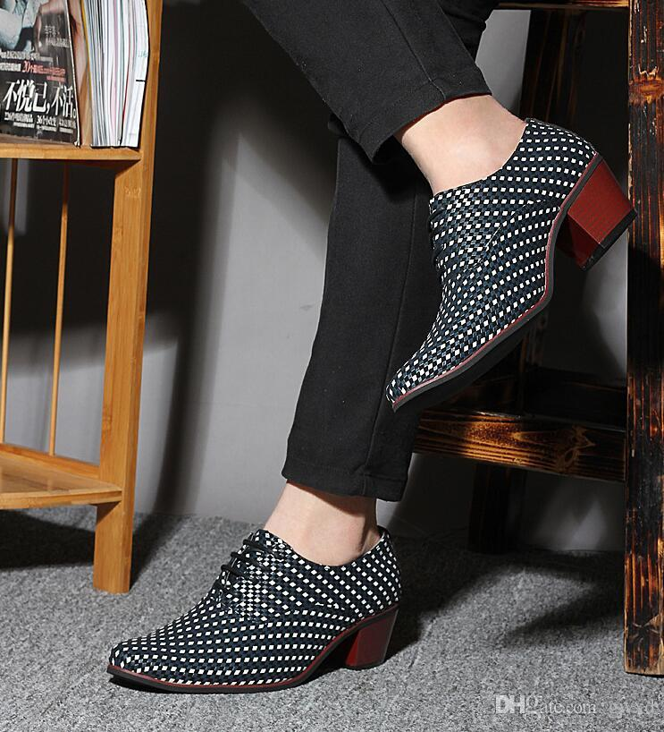 New 2018 high heel mens leather shoes knit weave gents fashion leisure party dress shoes man heighten high-heeled mosaic plait G324