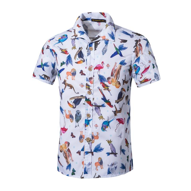 Casual Shirts Mens Hawaiian Shirt Short Sleeve Summer Plus Size Casual Print Button Down Red Shirt Blouse Slim Fit Shirt Camisa Masculina Handsome Appearance