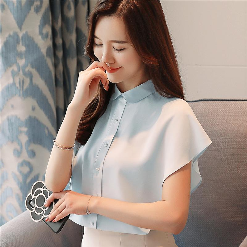 2018 New Summer Sweet Ruffle Chiffon Shirt Pure Color Shirts Blue ... af2b528b5aa3