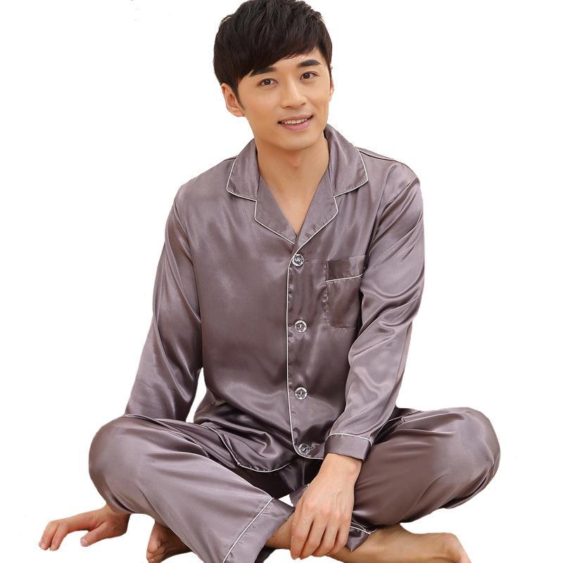 Large Size 3XL Men Pajamas Set 2018 Spring Long Sleeve Sleepwear ... 74d505154