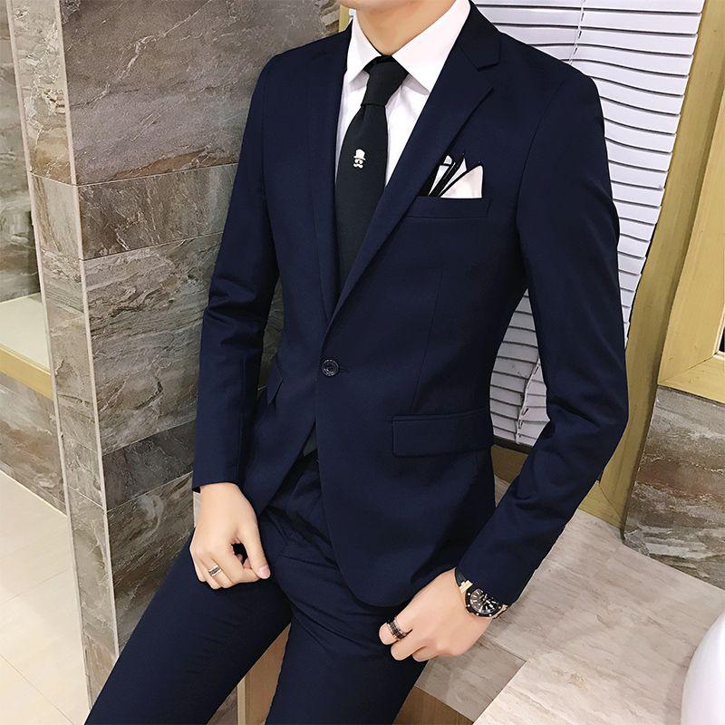 Compre 2 Unids   Set 2018 Nueva Moda De Estilo Coreano Delgado Traje Negro  Para Hombre Con Pantalones De Alta Calidad Trajes De Boda Para Hombres  Vestido De ... f2059dabebb