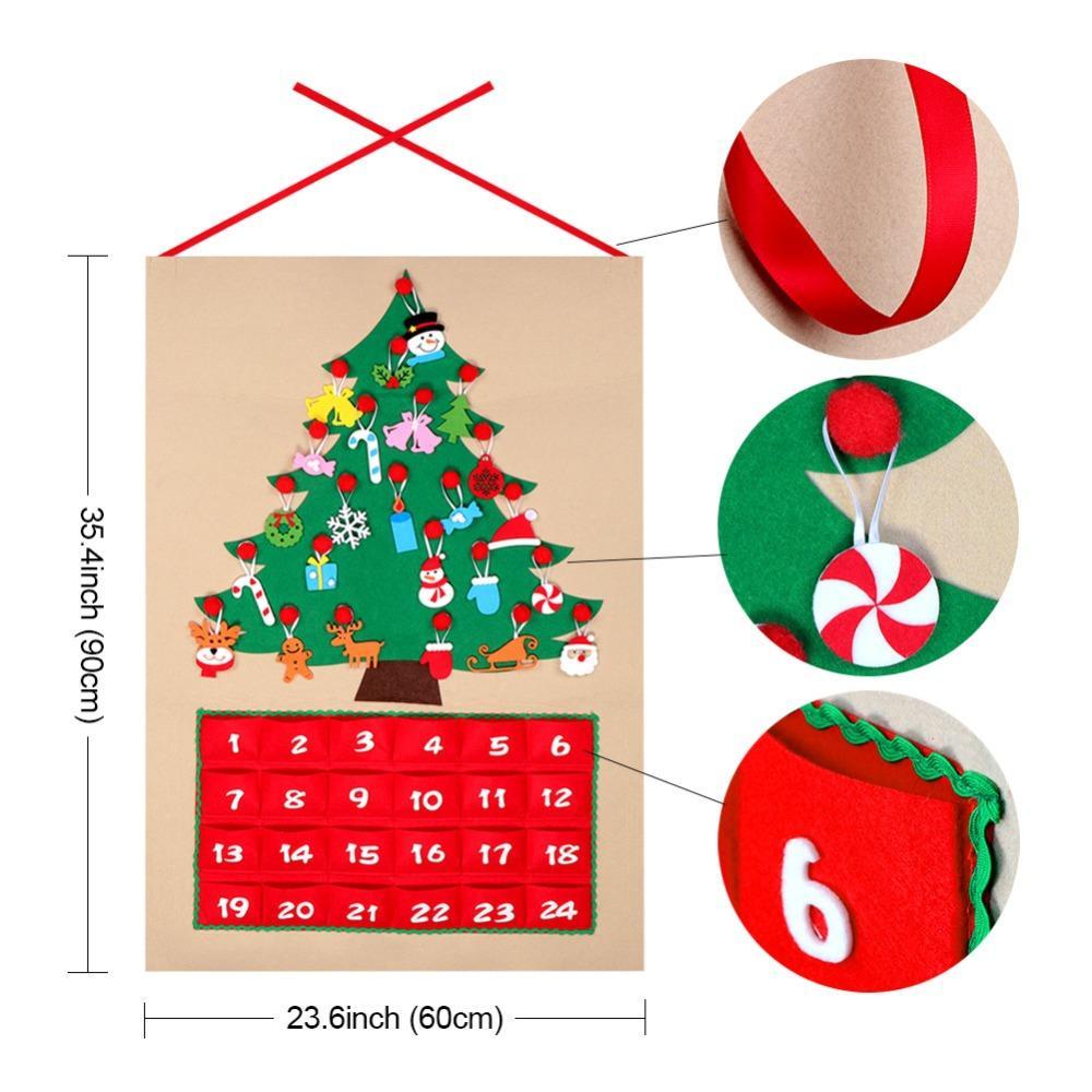 Calendario Dellavvento In Feltro.Data 1 24 Calendario Del Calendario Dell Avvento Del Feltro Di Natale Albero Di Natale Del Conto Alla Rovescia Del Calendario Con Le Tasche Ornamenti