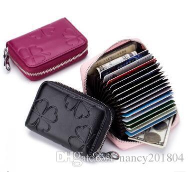 Wholesale 2018 New Women Leather Rfid Zipper Credit Card Holder
