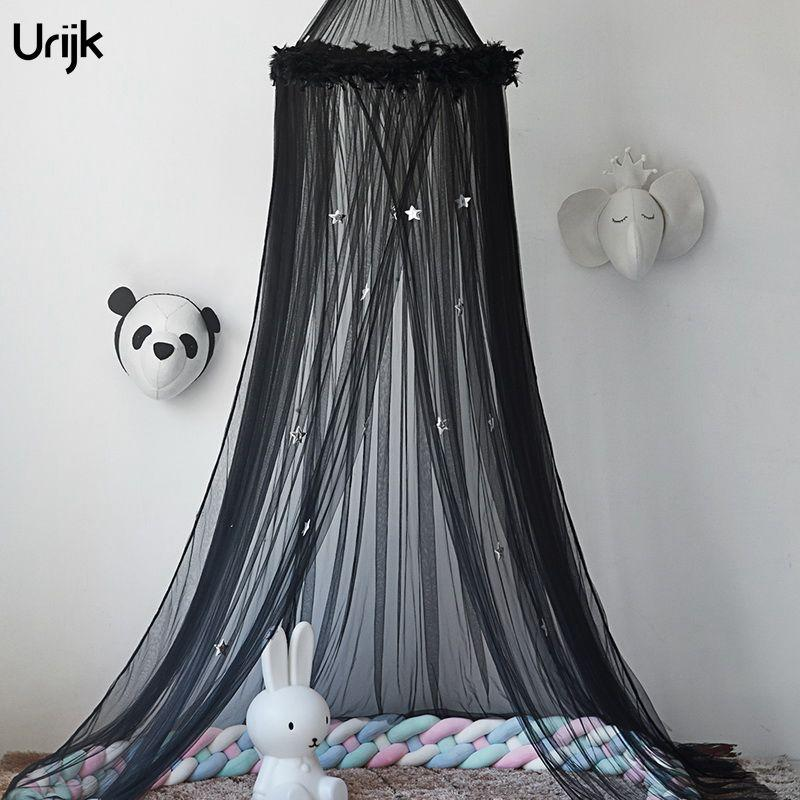 Urijk Circular Baby Bed Mosquito Net Dome Hanging Mesh Black White Pink Color Bed Canopy Mosquito Net Curtain With Stars Propane Mosquito Control Malaria ... & Urijk Circular Baby Bed Mosquito Net Dome Hanging Mesh Black White ...