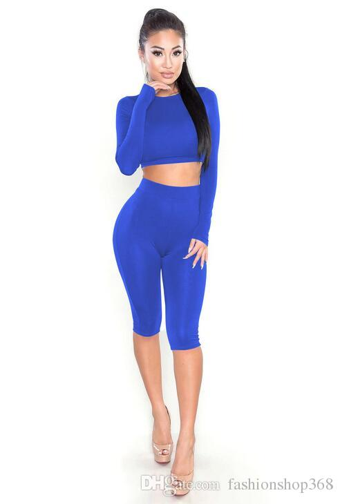 Women's Tracksuits Two piece Open navel suit Long sleeve crop top and shorts set Color block women pants sets