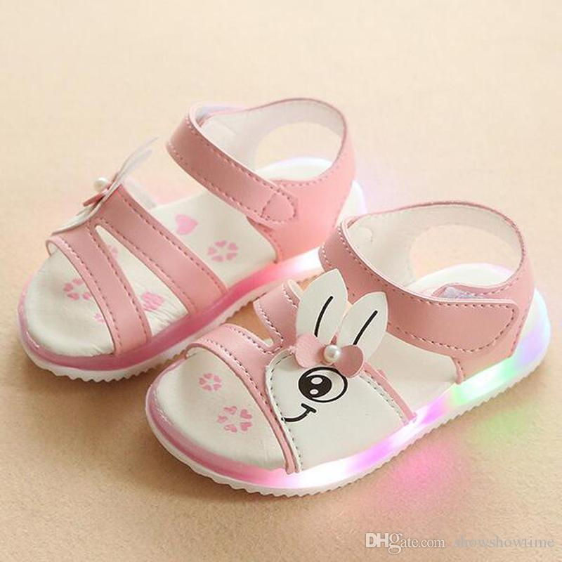 442e3d0e75deb 2018 Summer Led Rabbit Soft Sole Girl Shoes Chinese Quality Cheap Princess  Girl's Sandals Kids Fashion Light Up Shoes Free Shipping