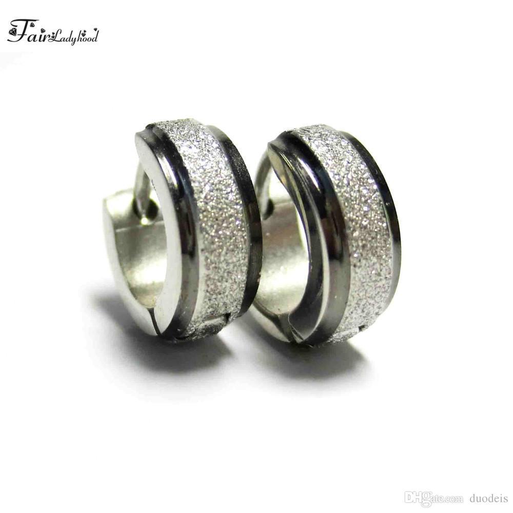 Fairladyhood Black And Silver Color Stainless Steel Hoop Earrings