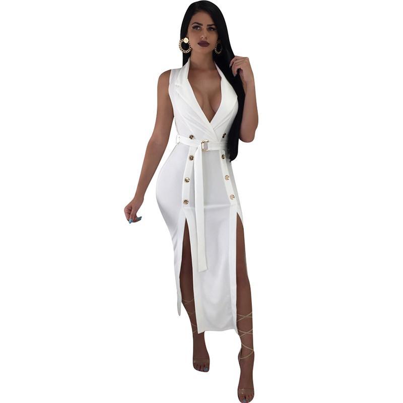 29516605c3f6f Compre 2019 Vestidos De Fiesta Sexy De Verano Mujeres Bodycon Vestido Sin  Mangas Botón Con Cuello En V Dividido Dobladillo Atado Cintura Atada  Clubwear Con ...