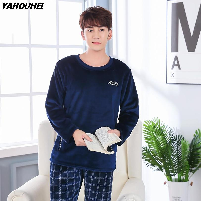 Casual Plaid Flannel Pajama Sets for Men 2018 Winter Long Sleeve Thick Warm  Coral Velvet Pyjama Male Homewear Loungewear Clothes Pajama Sets Cheap  Pajama ... 68a579a7c