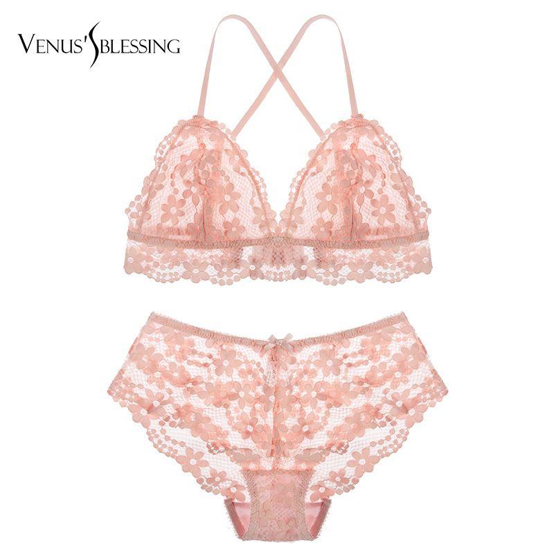 517890edacf23e VENUS'S BLESSING Ultrathin embroidery bras lace bra set underwear women set  lingerie sexy transparent bra panties