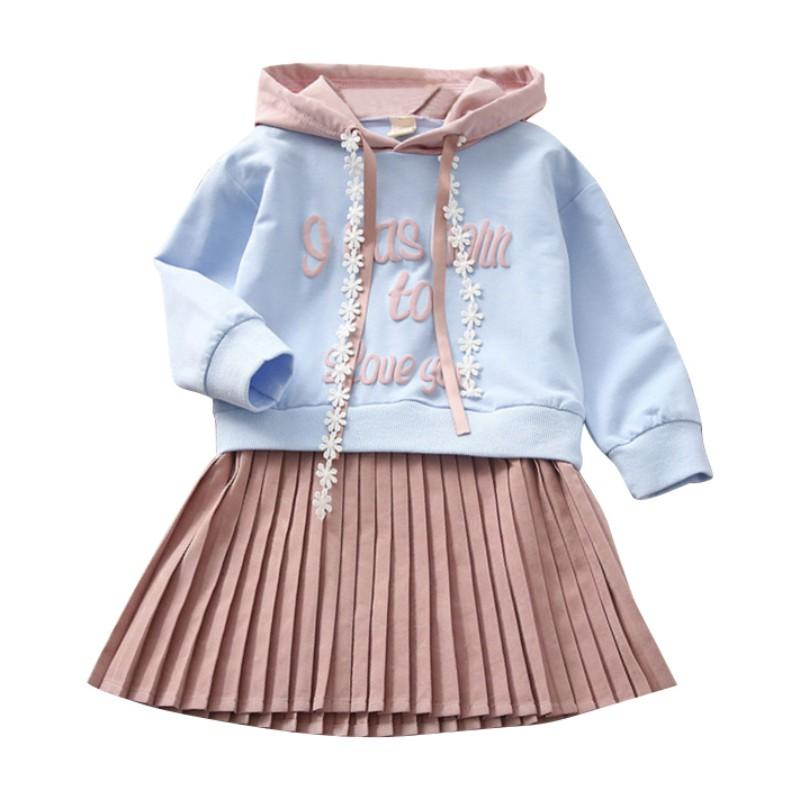 40ecf64a9154 2019 Girls Dress 2018 Autumn Baby Girls Blouse Cute Letter Hooded Ruched Long  Sleeve Children Clothing Dress 2 11Y From Dejavui, $36.53 | DHgate.Com