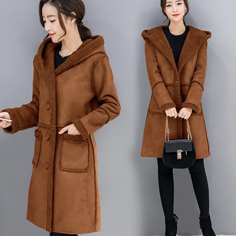 0b53a8228ed40 ALABIFU Faux Fur Coat Women Winter Jacket 2018 Casual Hoodies Long ...