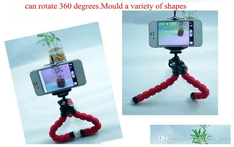 Flexible Tripod Holder octopus small portable mobile phone universal lazy sponges holder slacker stents spongy bracket with the clip