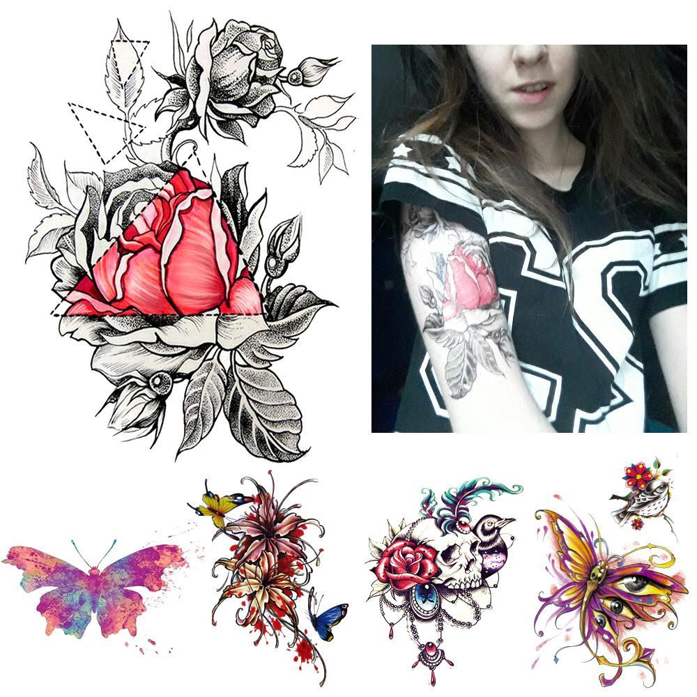 1 Unidades Boceto Calcomanía Impermeable Tatuaje Corazón Rosa Patrón