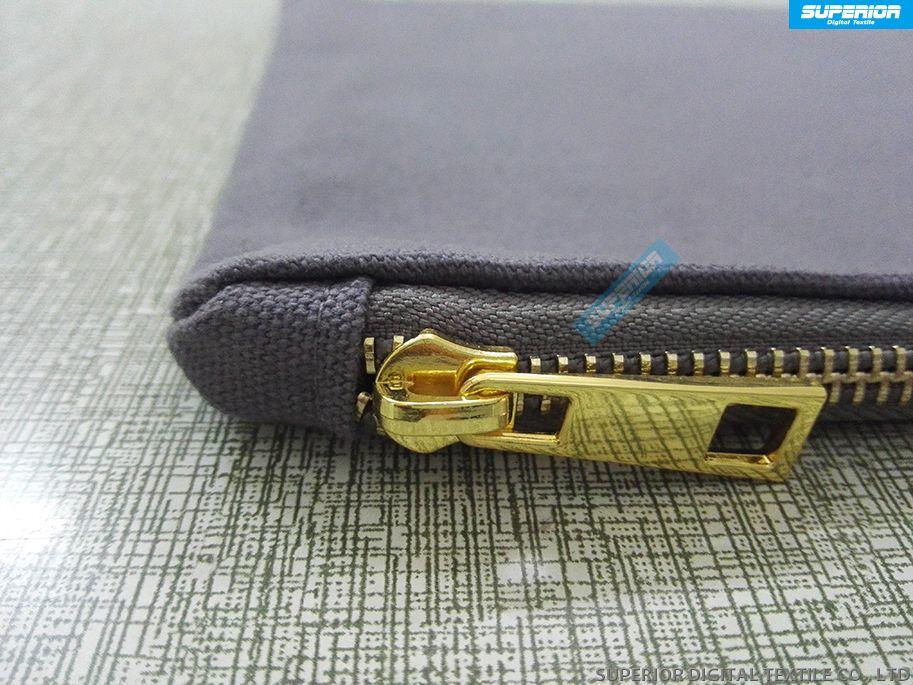 Simple Couleurs Solides Pur Coton Toile Sac De Maquillage Vierge Zip Pochette Avec Haute Qualité En Métal Doré Zip Avoir 8 Couleurs Match Doublure Zipper