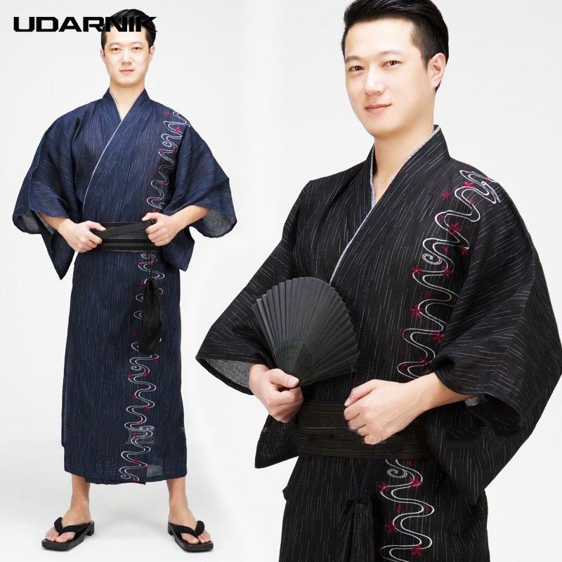 fcd481bd07 2019 Men Coon Robe Japanese Style Kimono Yukata Bathrobe Striped Embroidery  Long Vintage Sleep Clothes Fashion 904 A366 From Blueberry07