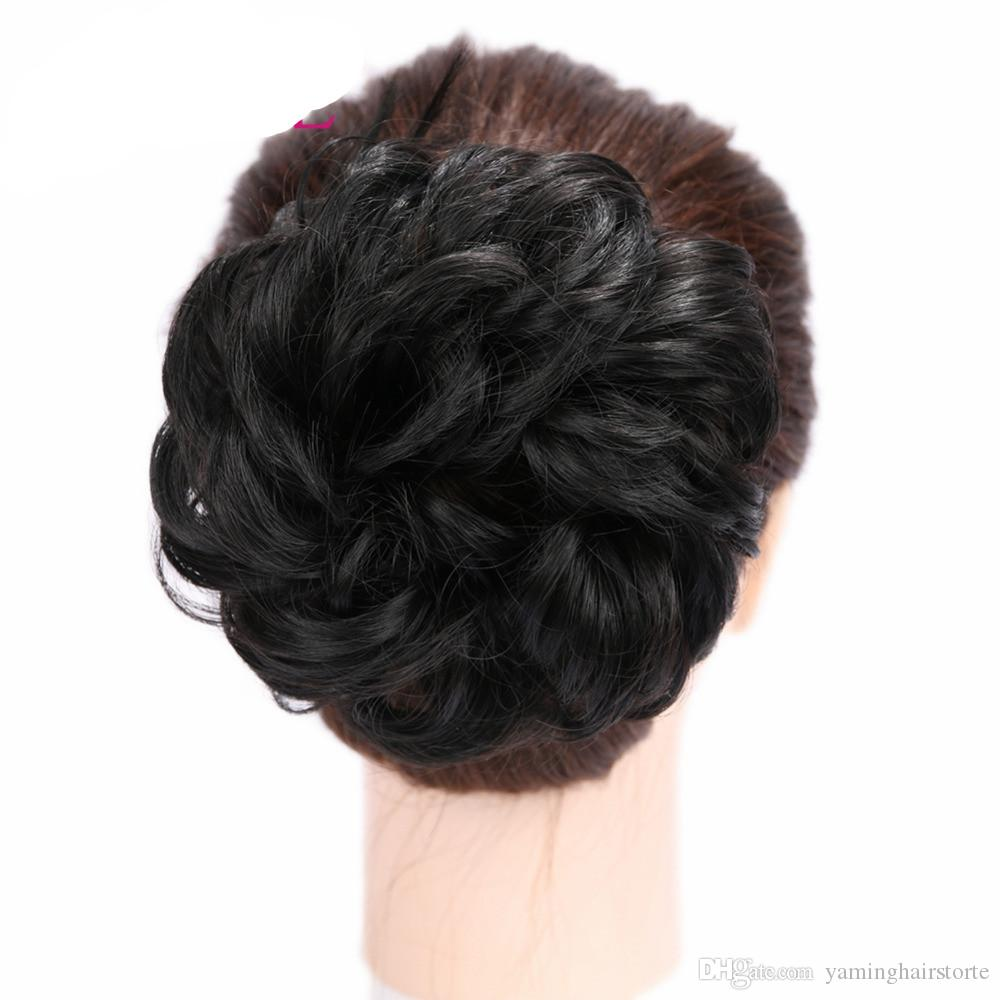 Women Chignon Hair Bun Donut Clip In Hairpiece Extensions Black/Brown/Blonde/Red Synthetic High Temperature Fiber Chignon