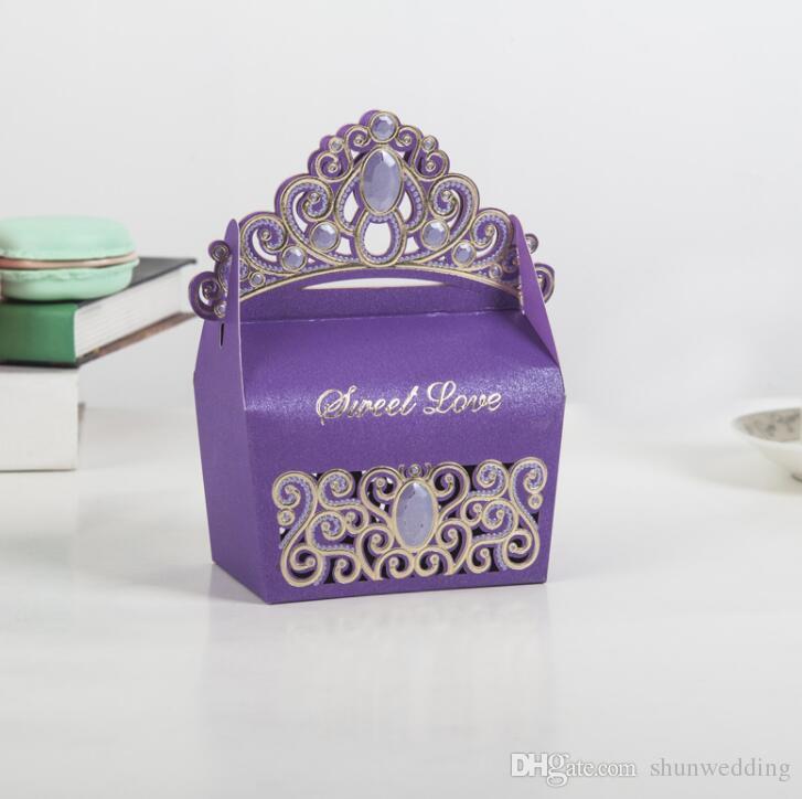 Royal Shiny Gemstone Crown Candy Box Wedding Party Favors Box ...