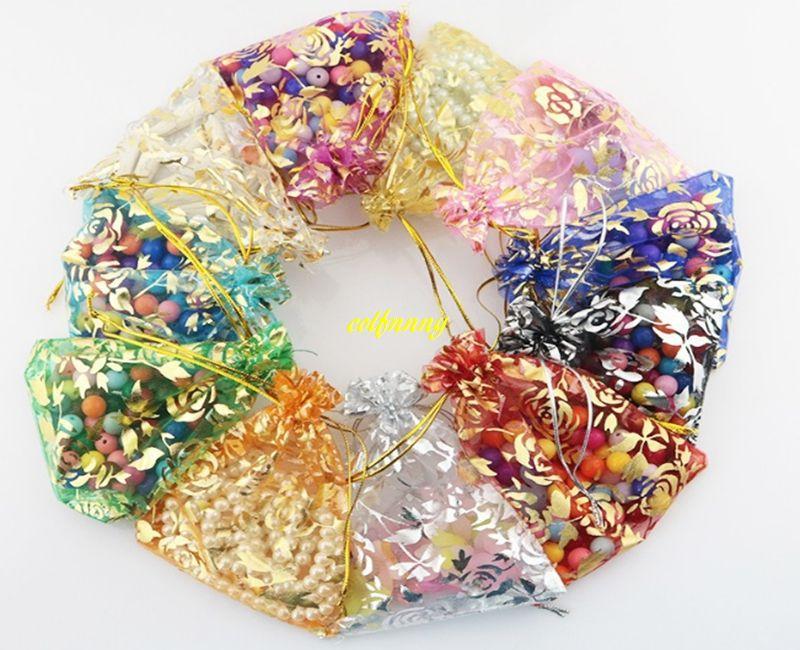 7*9cm 10*12cm 11x16 13*18cm 15*20cm 17*23cm 20x30cm Gilding Rose Organza Jewelry Bag Pouch Wedding Party Gift bags