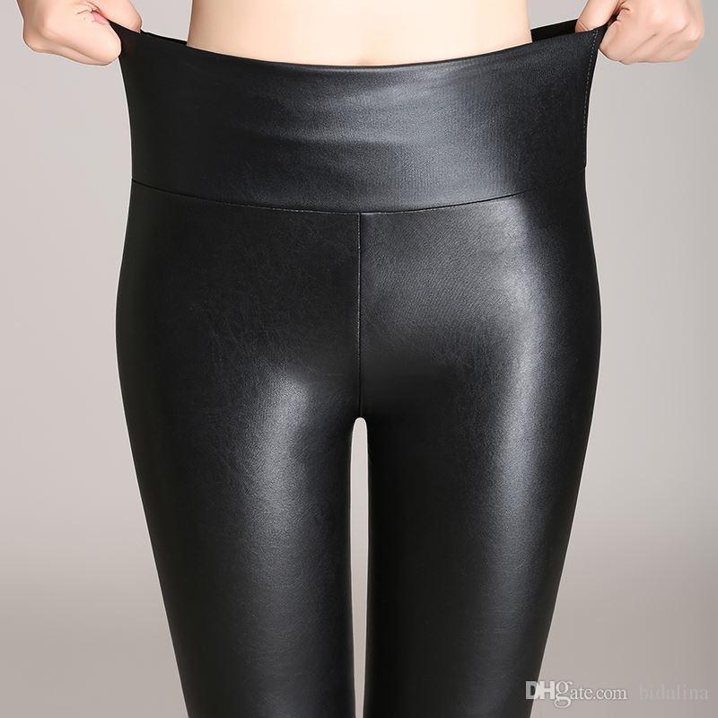 02492c5f89 Compre Señora Primavera Otoño Terciopelo Pantalones Calientes Para La  Muchacha Delgada De Cuero De Imitación Polainas Mujeres Flaco PU Legging  Alta Cintura ...