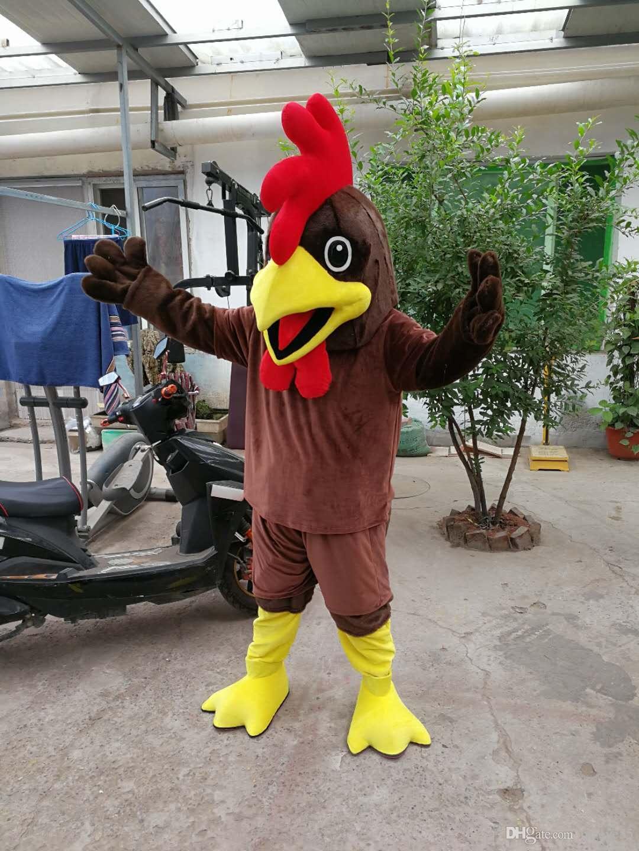 뜨거운 영화 캐릭터 갈색 닭 마스코트 의상 진짜 크기 성인 사이즈 무료 배송
