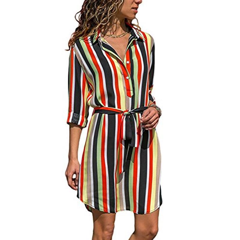 5bb13b85d3 Compre Vestido De Las Mujeres 2018 Turn Down Cuello Camisa De Rayas Vestido  Femenino Casual Sashes Manga Larga Mujer Otoño Señoras Robe Femme A  26.08  Del ...