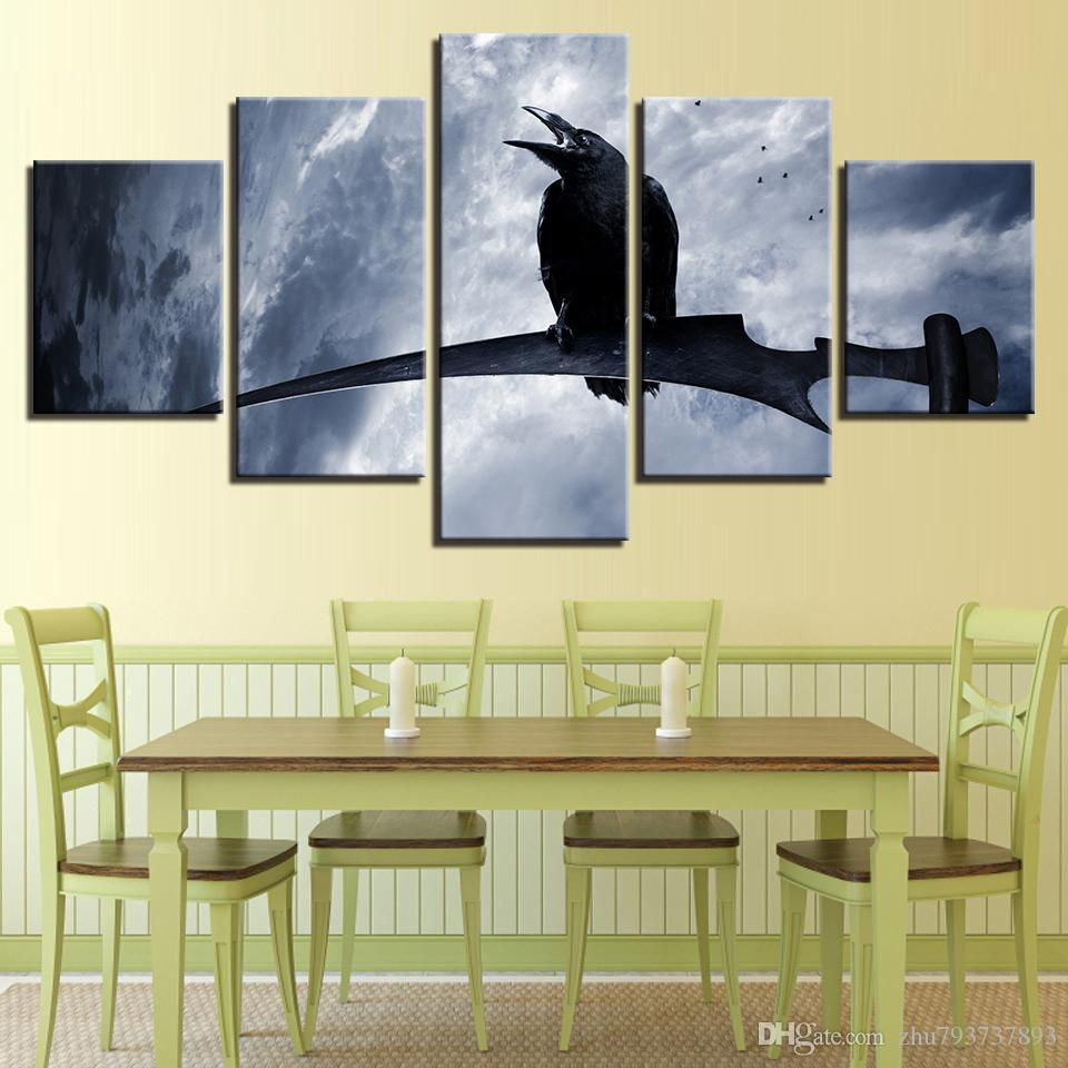 2018 Printing Canvas Pictures Black Crow Stands On The Branch Night ...