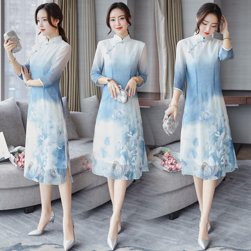 93f35a4ba8ad 2019 2018 Summer Vietnam Ao Dai Chinese Traditional Dress Chinese Dress  Qipao Long Cheongsam Robe Chinoise Modern Cheon From Hongyeli, $69.38 |  DHgate.Com