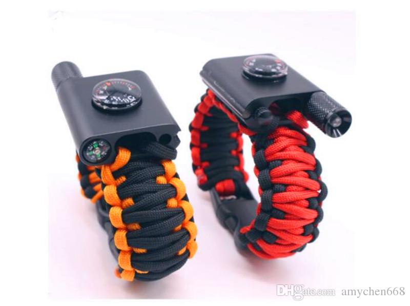 Outdoor mergency use survival Bracelet Survival Escape Life-saving Bracelet Paracord Hand Made With Plastic Buckle Add LED