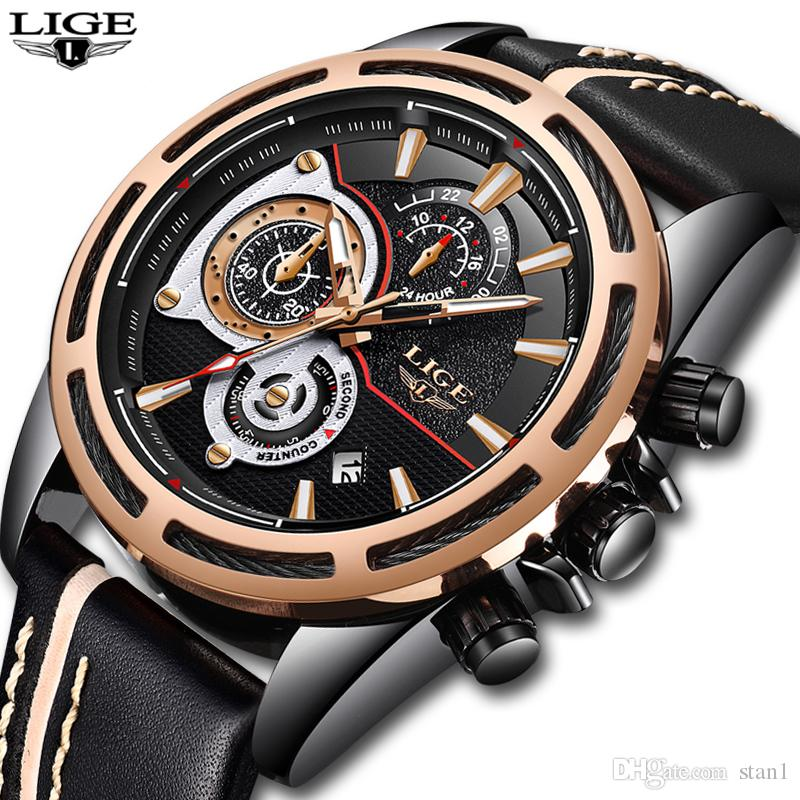 8971ff71c14 Compre 2018 Nuevo LIGE Reloj De Los Hombres Del Deporte Del Cuarzo Reloj De  Cuero De La Manera Relojes Para Hombre De Primeras Marcas De Lujo  Impermeable ...