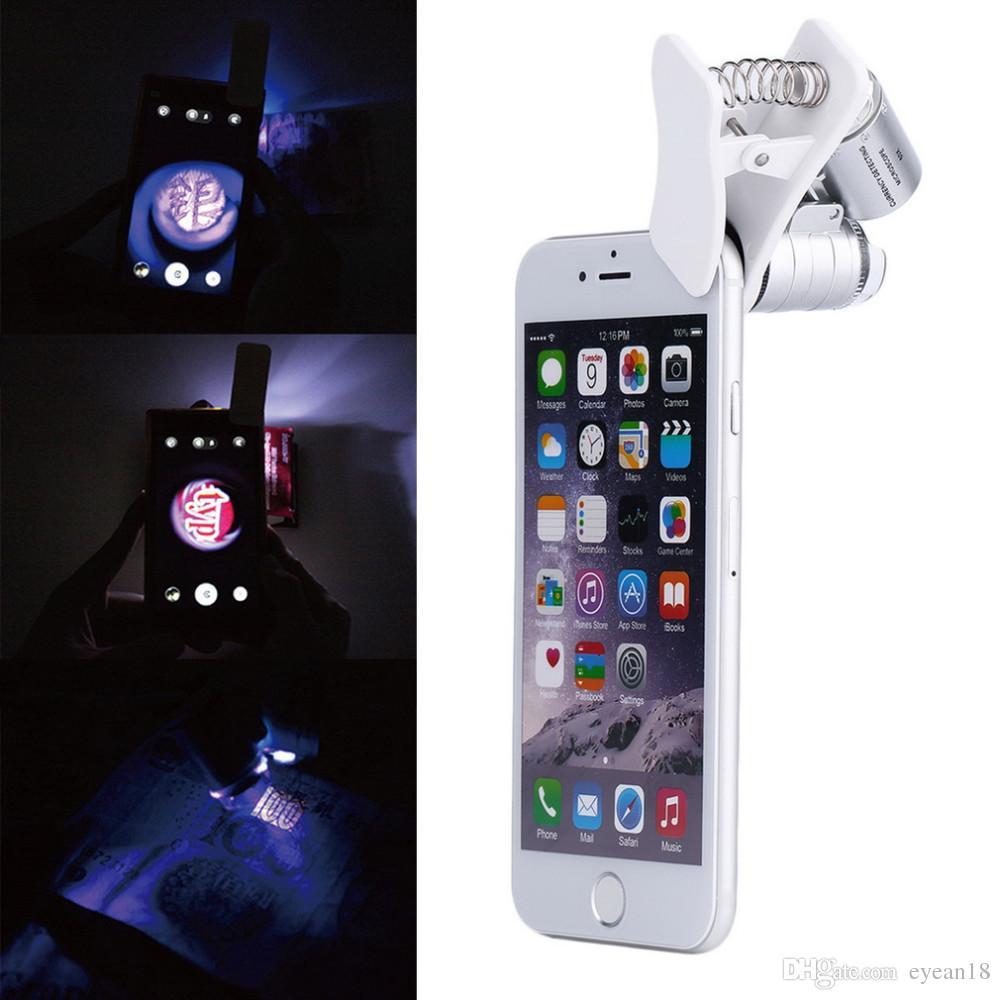 9882 Вт 60X Ди Ingrandimento Универсальный мобильный телефон микроскопия LED ленте Ди Ingrandimento кон клип