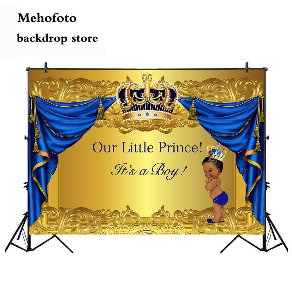 wholesale Baby Shower Photography Backdrop Crowned Royal Prince Vinyl Background Gold and Blue Curtain Newborn Birthday Party 936