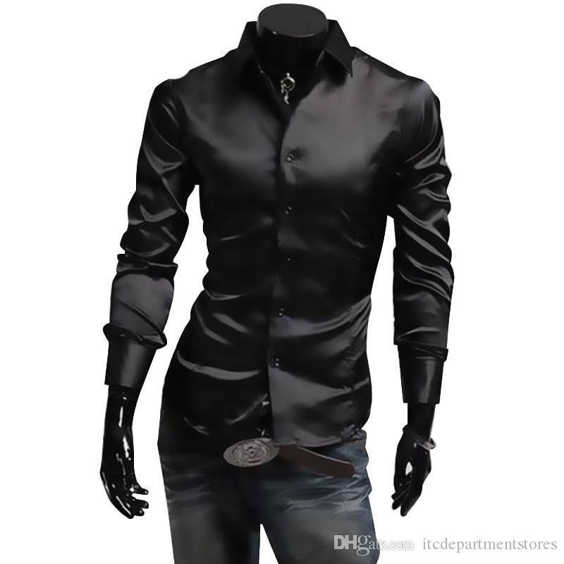 1880d718e5 Compre Mens Camisa De Seda Dos Homens Da Marca De Moda Camisa De Manga  Longa Homens Camisa Social Masculina Casual Homens Negros Camisas De  Vestido De ...