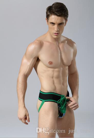 Hot sexy soft String Temptation Mesh Jockstraps vintage cockring front pouch men's underwear Free fit big boy strapless underwear