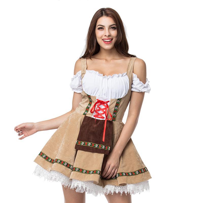 ff580c32ffe3 3XL Plus Size Beige/White Oktoberfest Fancy Dress Cosplay Adult Beer Girl  Costume Sexy Deguisement Halloween Costumes For Women C18111601 Sexy Short  Set ...