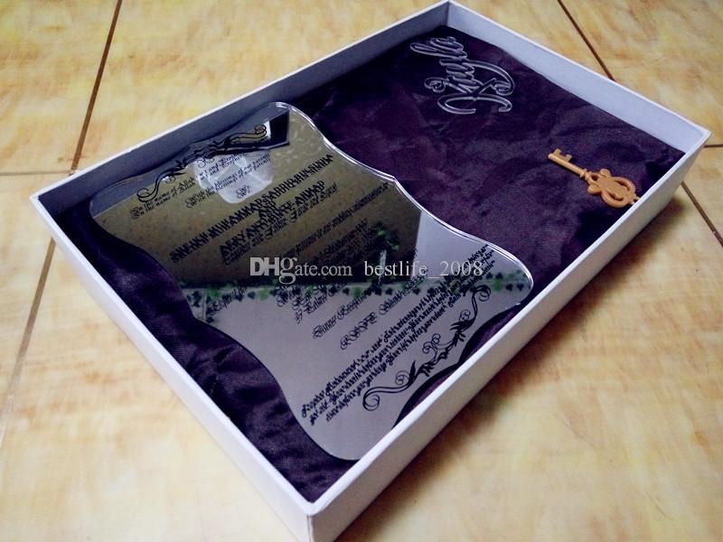 Silberner Acrylspiegel fertigte Hochzeitseinladungen mit schwarzem Text, freie Umschläge besonders an weißer Kasten nicht eingeschlossen L165mmxB114mmxT2mm BL-181027