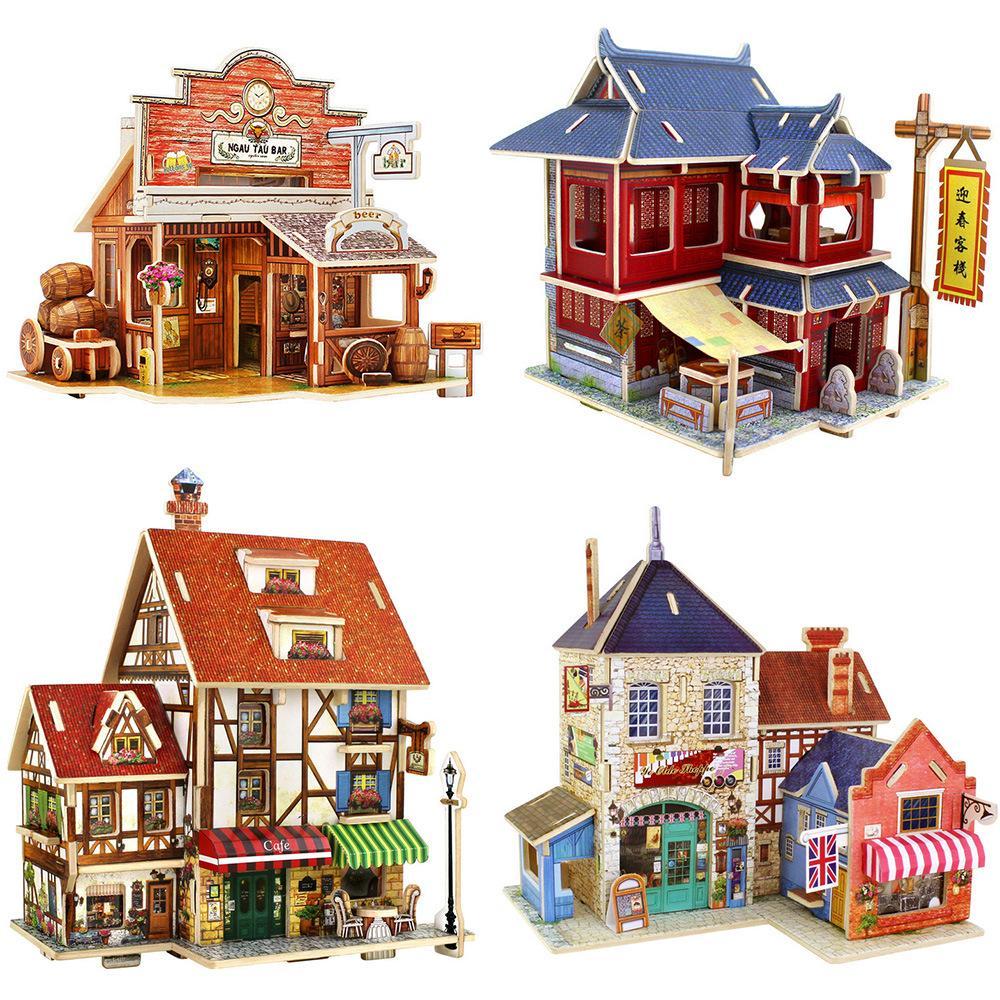 3d Block Puzzle Building Set Diy World Architecture Fashion House ...
