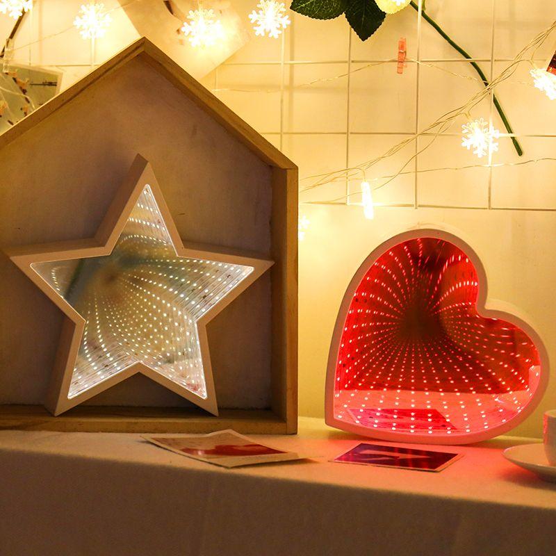 Yatak odası Çocuk Hediye için 3D Gece Işığı Yaratıcı Yenilikçi Tünel LED Duvar Lambası Ananas Dekoratif Ay Yıldız Bulutu Çiçek Danışma Aydınlatma