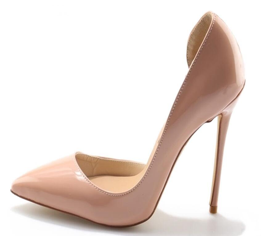 3f5eb5227c57 Sexy Pointed Toe Shallow Stiletto Heels Women Nude Patent Leather Dress  Pumps Shoes Celebrity T Stage Banquest Droship Sexy Shoes Clogs For Women  From ...