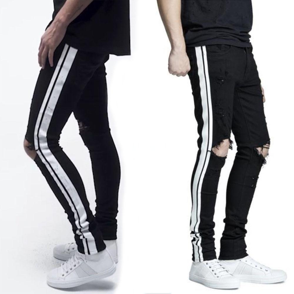 40ef2e526631 New Italy Style #1508# Men's Distressed Hollow Out Pants Black Mix White Side  Stripe Denim Skinny Jeans Slim Trousers Size 28-38