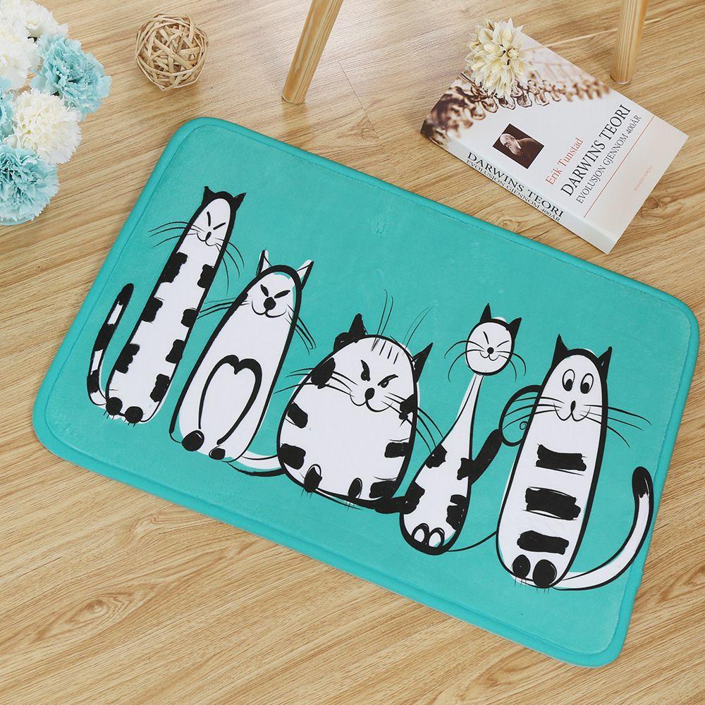 Cat series mat simple cartoon mat bathroom anti-slip bathroom mat kitchen creative living room Nordic wind carpet