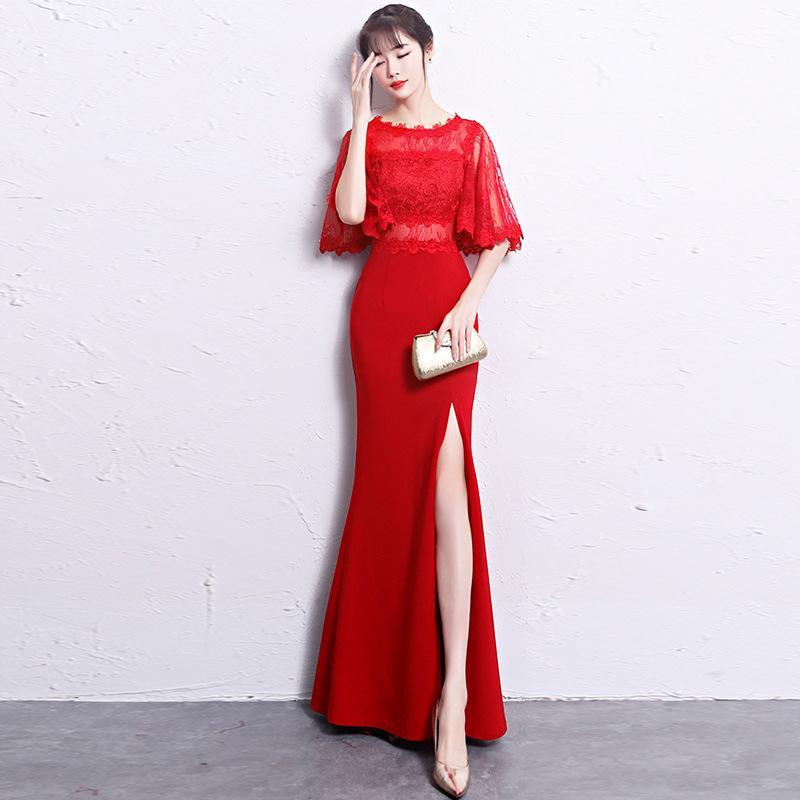 3a6554f9c Compre 2018 Encaje Qipao Moderno Cheongsam Largo Rojo Vestido Chino Vestidos  De Noche Orientales Vestidos Tradicionales Chinos Robe Traditionnelle A   122.09 ...