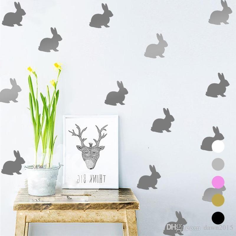 Rabbit Wall Decals Cartoon Diy Wall Stickers Kids Children Room Home ...