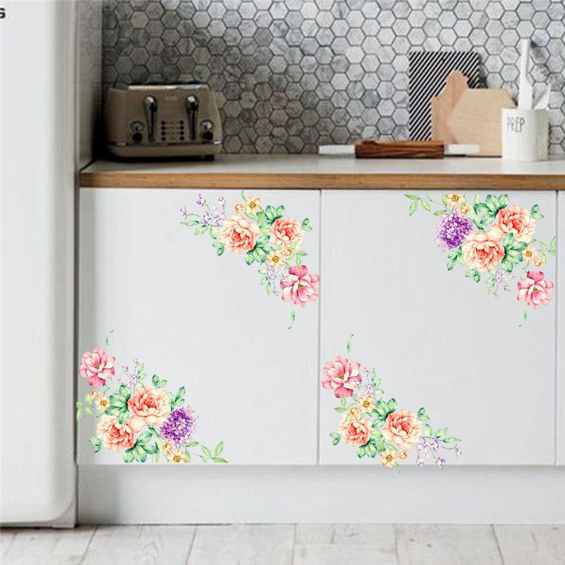 Acheter Elegant Fleur Vigne Maison Decalque Cuisine Refrigerateur