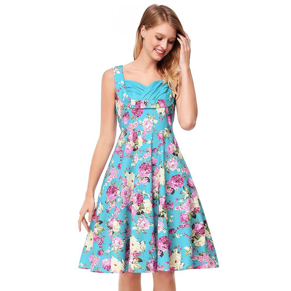 2018 Summer Robes Retro Floral Printed Tunic Rockabilly Dress Jurken ...